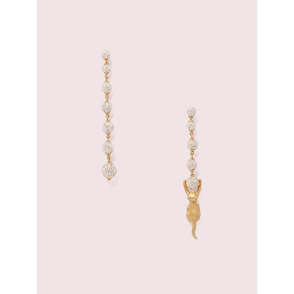 house cat pavé linear earrings
