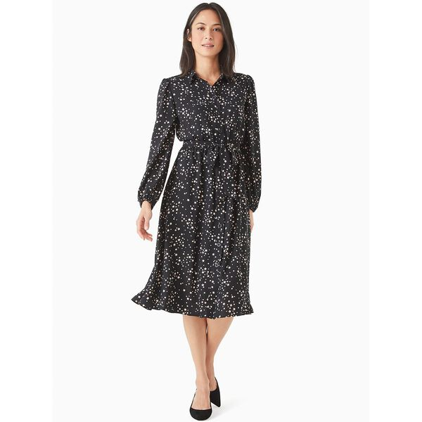 scattered stars button-front shirtdress