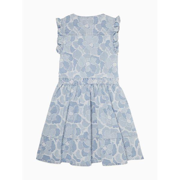 abstract peony denim dress, indigo, hi-res