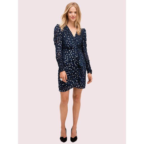 scatter dot velvet dress, celestial blue, hi-res