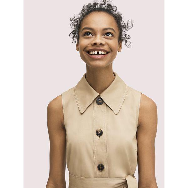 sleeveless shirtdress, dark khaki, hi-res