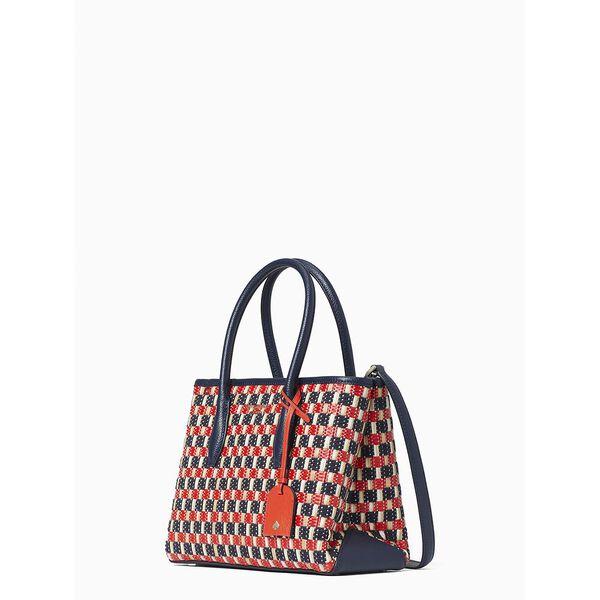 eva straw small top zip satchel, multi, hi-res
