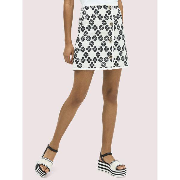 spade tweed skirt, french cream, hi-res