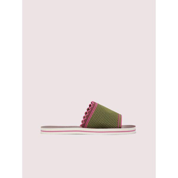 festival slide sandals, black/whitedots, hi-res