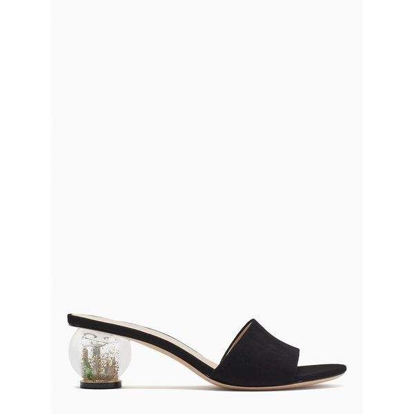 polished slide sandals, black, hi-res