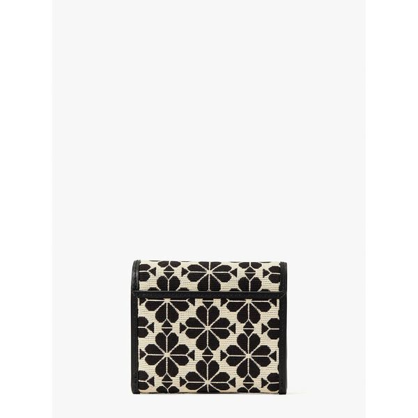 spade flower jacquard small zip wallet, creammulti, hi-res
