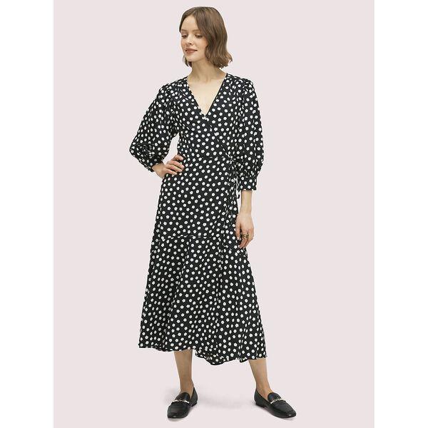 cloud dot wrap dress, black, hi-res