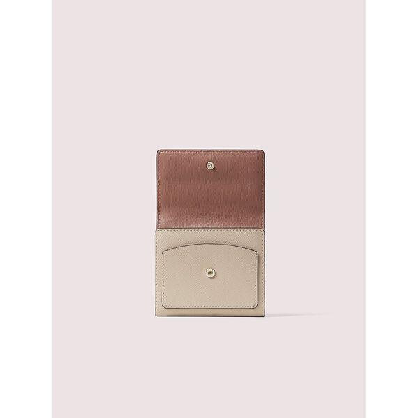spencer trifold flap wallet, warm beige/black, hi-res