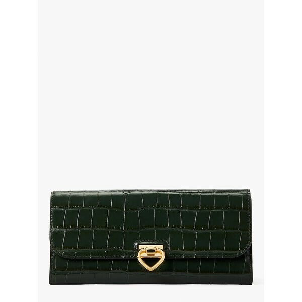 lovitt croc-embossed flap continental wallet