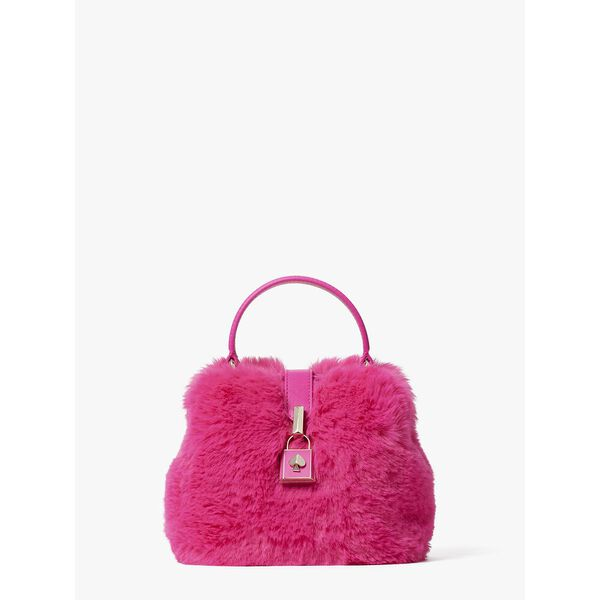 remedy faux fur small top-handle bag