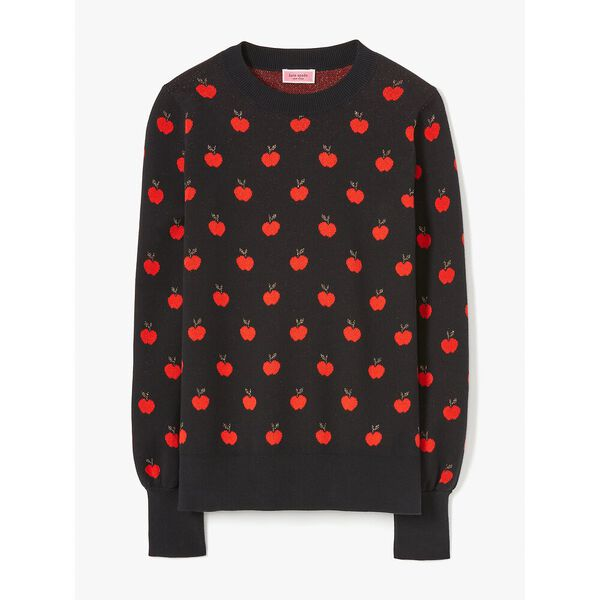 apple toss jacquard sweater, black, hi-res