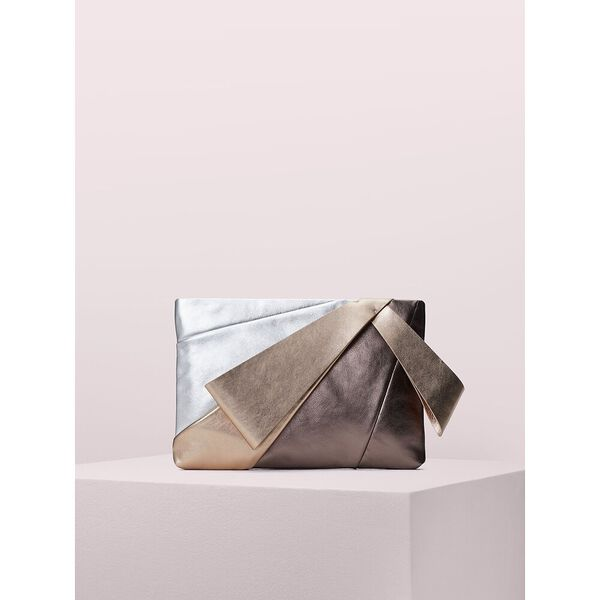 stevie metallic large evening clutch, silver multi, hi-res