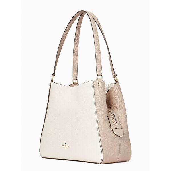 leila colorblock medium triple compartment shoulder bag, warm beige multi, hi-res