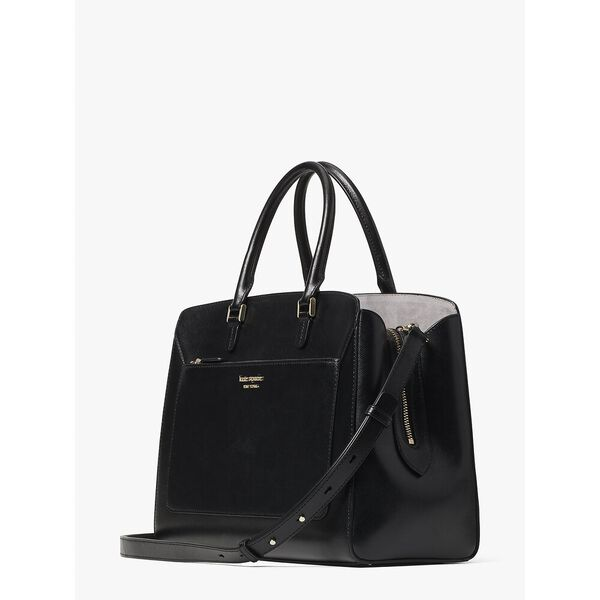 louise large satchel, BLACK, hi-res