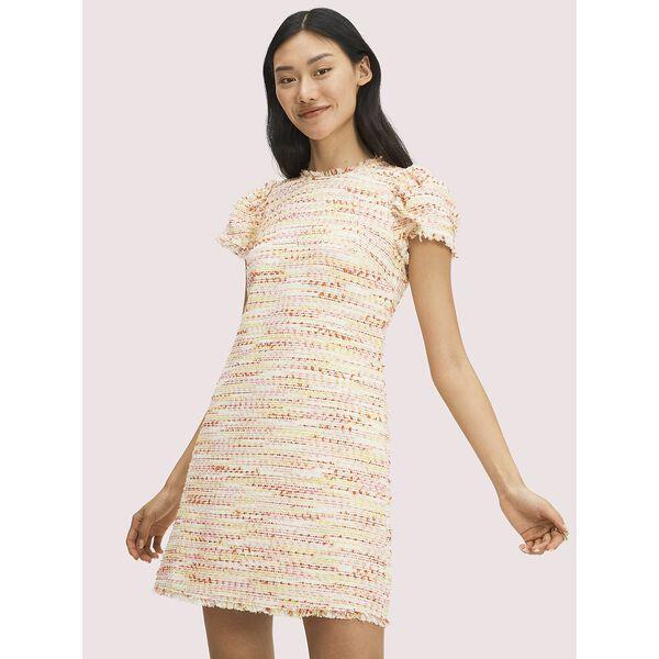 multi tweed shift dress, pink lotus, hi-res