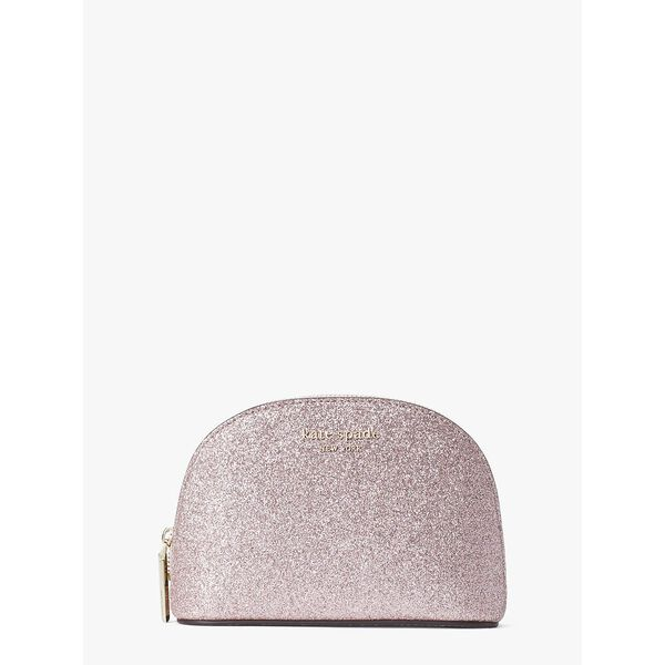 spencer glitter small dome cosmetic case, rose gold, hi-res