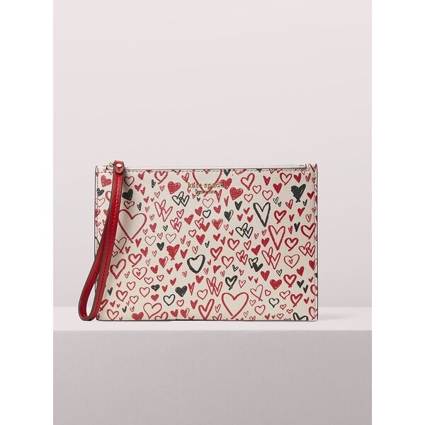 spencer heart scribbles small wristlet, pale vellum multi, hi-res