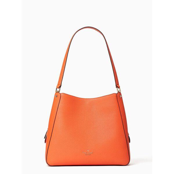 leila medium triple compartment shoulder bag, coral buds, hi-res