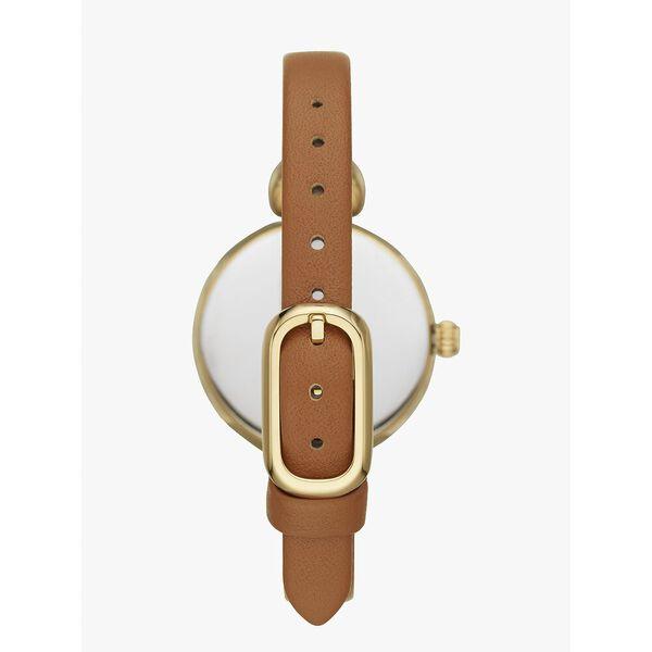 hollis luggage leather watch, tan/gold, hi-res