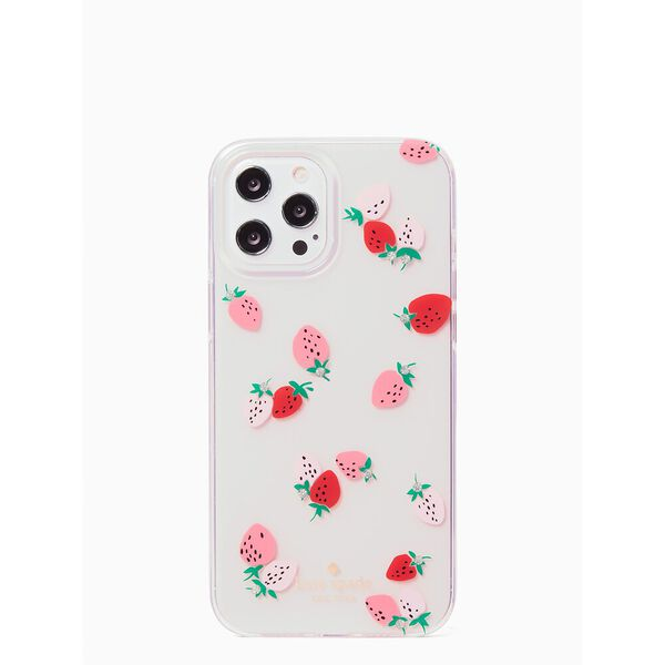 strawberry with gems iphone 12/12 pro max case, clear, hi-res