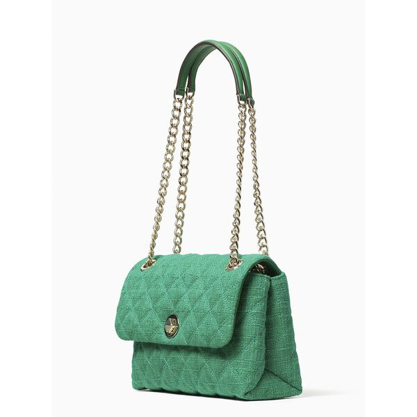natalia solid tweed medium flap shoulder bag, green bean, hi-res