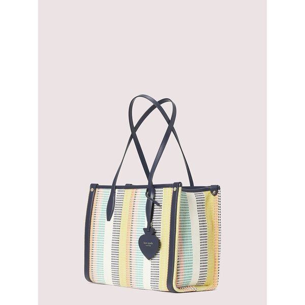 market woven stripe medium tote, MULTI, hi-res