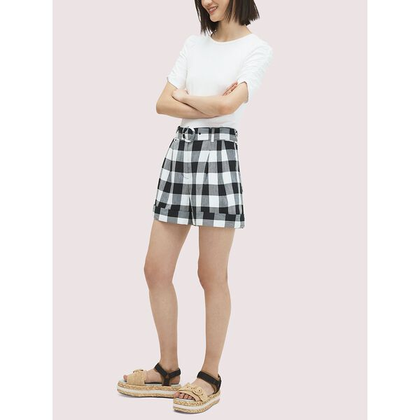 gingham short, BLACK, hi-res