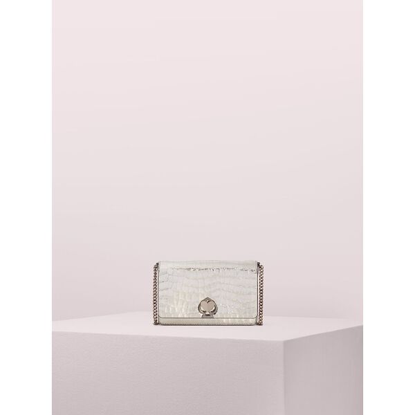 romy metallic croc-embossed chain wallet