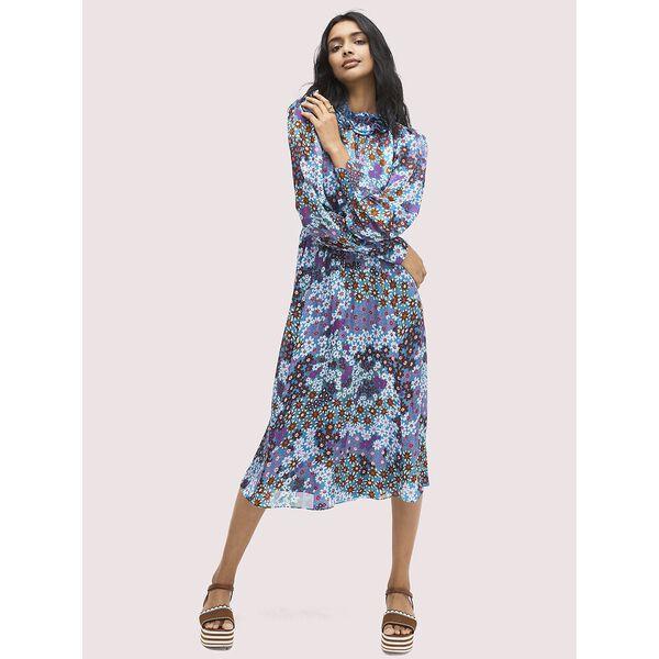 pacific petals chiffon dress, aruba blue, hi-res