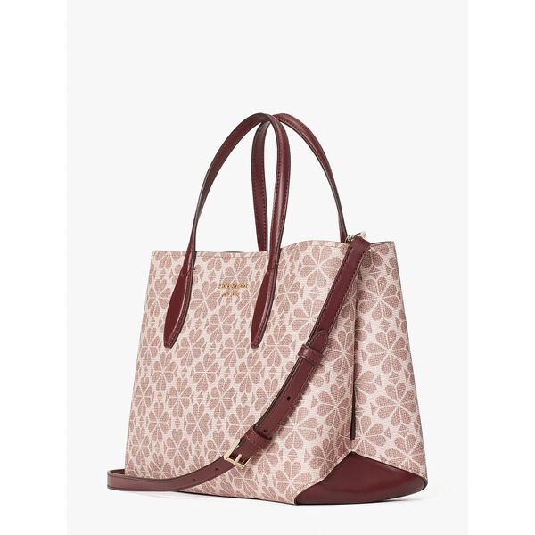 spade flower coated canvas all day medium satchel, pink multi, hi-res