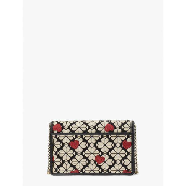 spade flower jacquard hearts chain wallet, black multi, hi-res