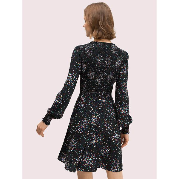 confetti cheer smocked dress, black, hi-res