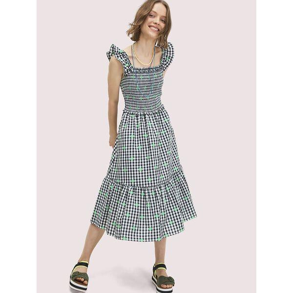 gingham voile smocked dress, FRESH WHITE, hi-res