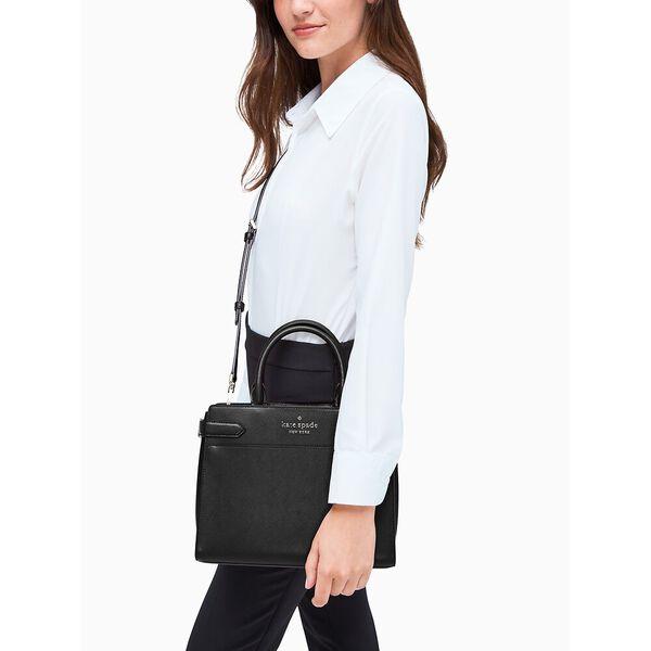 staci medium satchel, black, hi-res