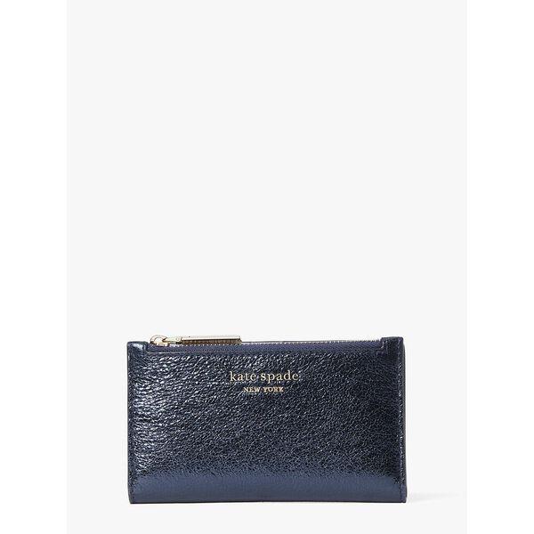 spencer metallic small slim bifold wallet, METALLIC NIGHT, hi-res