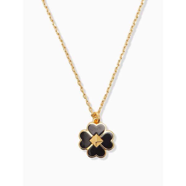 spades and studs enamel mini pendant, black, hi-res