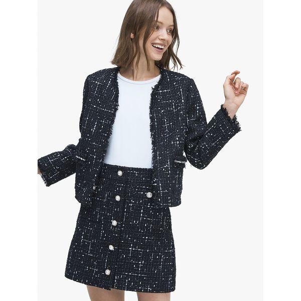 embellished tweed skirt, BLACK, hi-res
