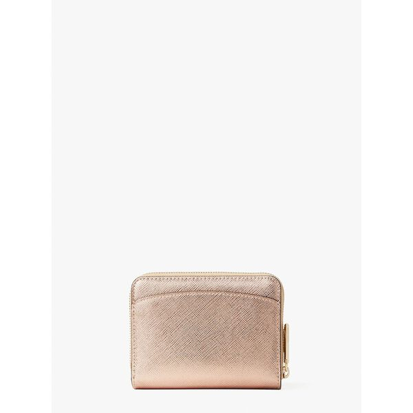 spencer metallic small compact wallet, rose gold, hi-res