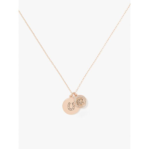 wishes good luck pendant, clear/rose gold, hi-res