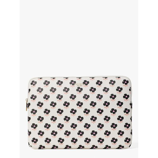 block floral laptop sleeve, parchment multi, hi-res