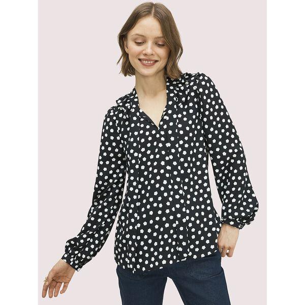cloud dot blouse, black, hi-res
