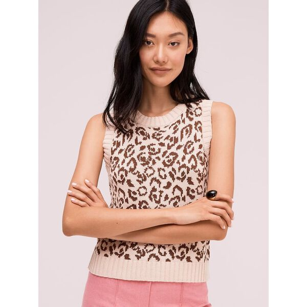 panther intarsia sweater vest, bisque, hi-res