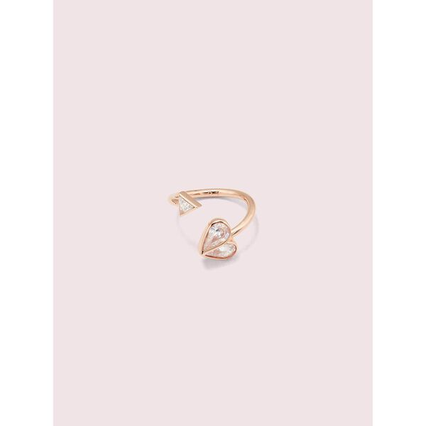 rock solid stone heart twist ring, clear/rose gold, hi-res