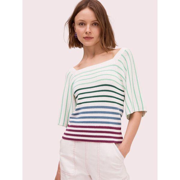 striped square neck sweater