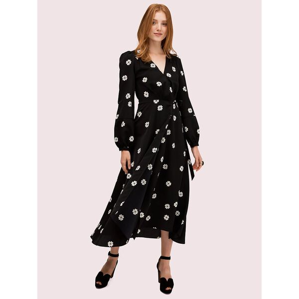 spade clover toss wrap dress, black, hi-res