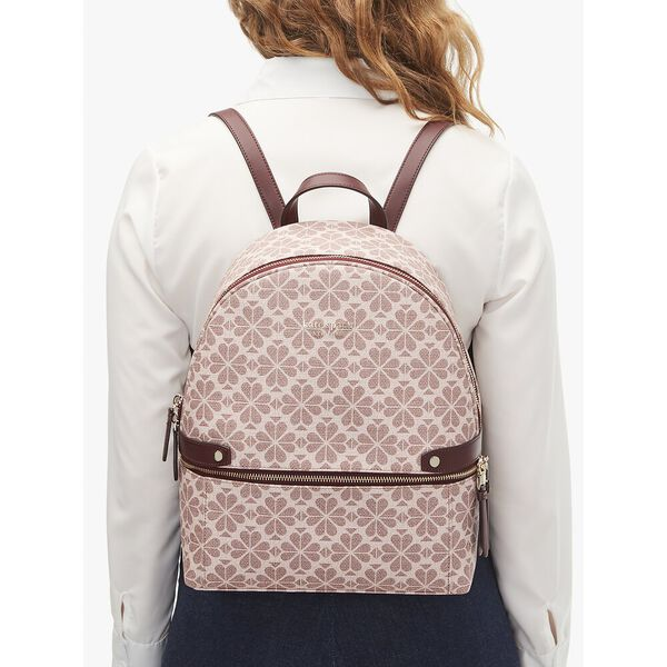 spade flower coated canvas day pack medium backpack, pink multi, hi-res