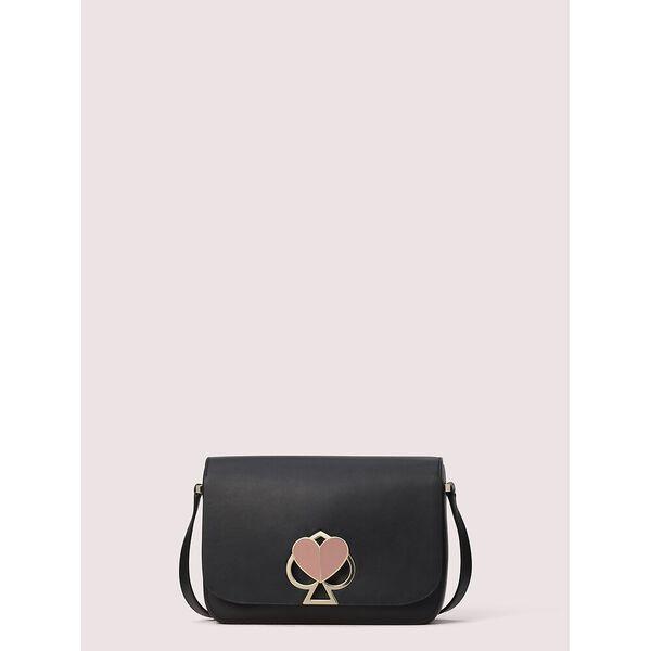 nicola twistlock medium shoulder bag, black, hi-res