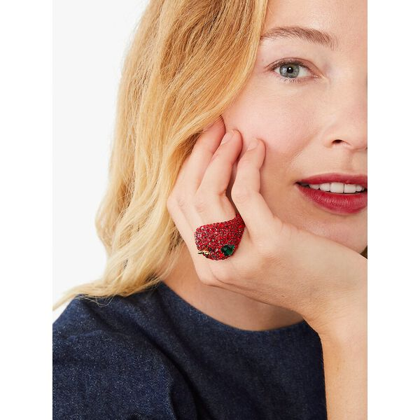 dashing beauty apple statement ring, red, hi-res