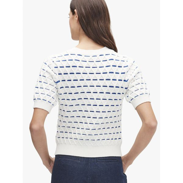 striped cable sweater, french cream, hi-res