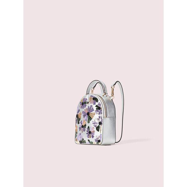 amelia embellished floral mini convertible backpack, silver multi, hi-res